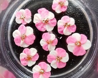 Nail charms Pink&white flowers set