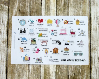June Wacky Holidays, June Silly Holidays, monthly planner stickers, holiday stickers, Functional planner stickers