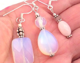 8 different Opalite or Pink Peruvian Opal Earrings. Sterling Silver.  free US ship