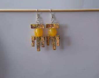 FREE SHIPPING. Yellow Handmade Earrings, Drop Earrings, Yellow, Handmade Jewelry, Jewelry