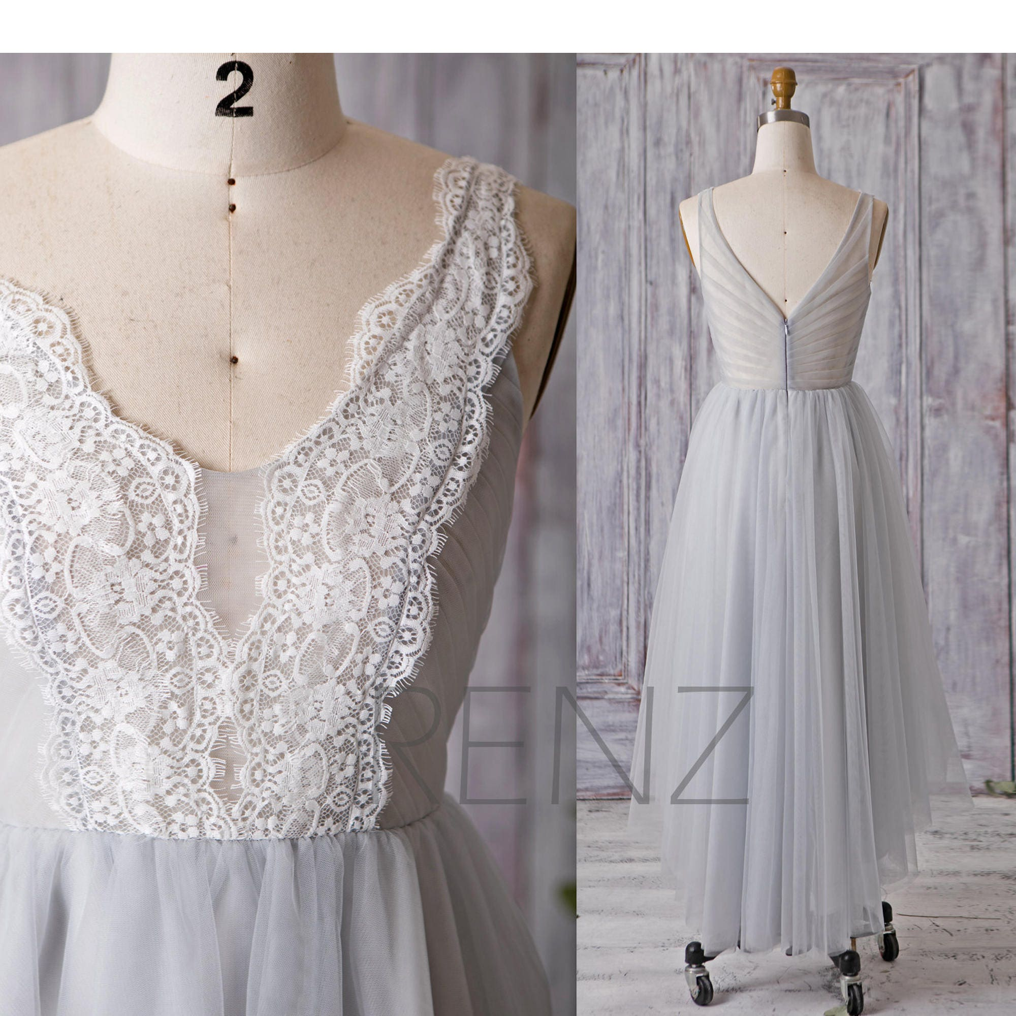 Light grey bridesmaid dress long gray tulle wedding dress v zoom ombrellifo Choice Image