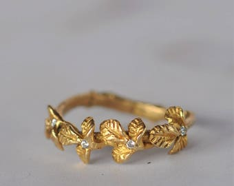Mother's Day Gift, Unique Gold Ring, Gold Filled Ring, Leaf Ring, Flower Ring, Nature Ring, Branch Ring, Woodland Ring, Delicate Ring, Daint