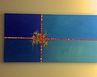 "Large 24""x48"" Acrylic on Canvas Painting"