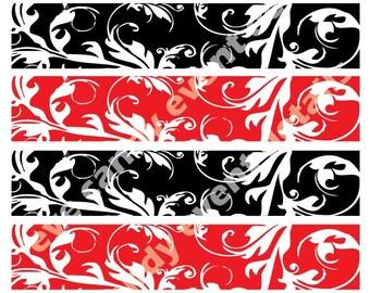Damask Napkin Wraps Red Black DIY Printable - Wedding Napkin Wraps - Bridal Shower damask napkin wraps