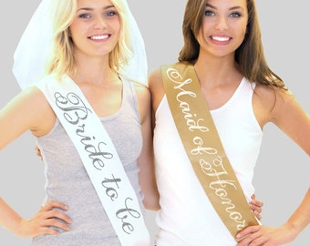 Rhinestone Bridal Party - The Bride Sash, Bride Sash Bachelorette, Will You Be My Matron Of Honor Gift, Bridal Shower Decorations