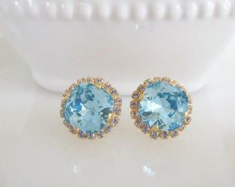 Bridal Earrings, Blue Bridal Jewelry, Aquamarine Earrings, Swarovski Earrings, Stud Earrings, Rhinestone Earrings, Beach Wedding Jewelry