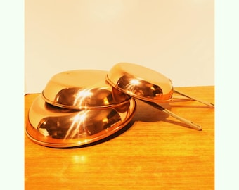 """Vintage Solid Copper Sauté Frying Pan Set of 3 with Brass Handles lined in Stainless Steel 10"""", 8"""" and 6"""" Size made in Korea"""
