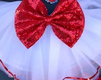 Girls Valentine's Day white tutu and red sequin bow sewn tutu skirt