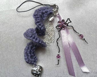 Handmade purple and silver jewelry phone case