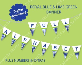 Boy Baby Shower Banner - Baby Boy Name Banner -U Print FULL ALPHABET- Baby Banner- Lime Green Blue  White It's a Boy Chevron Party Supplies