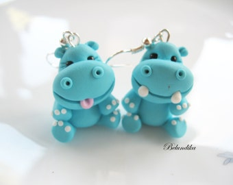 Turquoise hippos earrings,polymer clay,hippopotamus