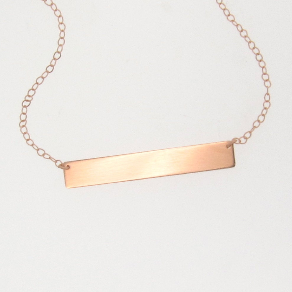 Gold bar nameplate necklace 14k rose gold name plate as zoom aloadofball Images