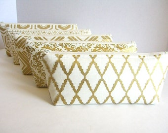 Set of 5 - Metallic Gold and Cream Clutches - Gold Makeup Bag - Gold Wedding Clutch - Gold Bridesmaid Clutch - Gold Bridal Bag - Gold Pouch