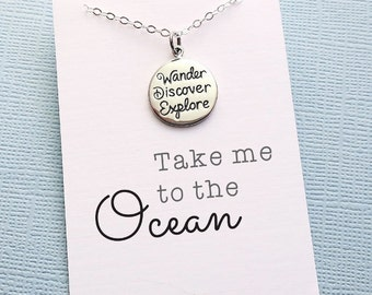Inspirational | Wanderlust Mantra Boho Necklace,  Motivational, Be You, Be Wild, Be Free, Beach Jewelry, Just do It, Free Spirit | X16