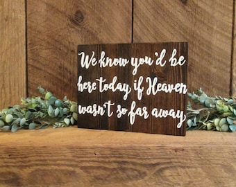 We know you'd be here today if heaven wasn't so far away, wooden sign, remembrance sign, in loving memory sign, heaven sign, wedding sign