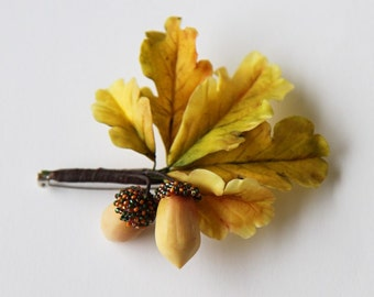 Acorn brooch Acorn jewelry Woodland Brooch  Autumn leaves brooch Moms gift Woodland jewerly Botanical jewelry Coats brooch Hat lapel pin