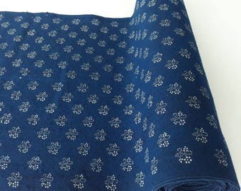 Blue dyed, hand printed, linen fabric / table runner 42 cm wide, K90