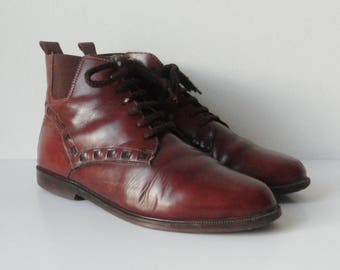 Brown Vintage Leather Lace Up Ankle Boots // Cacadrills // Size 38 // Made In Italy