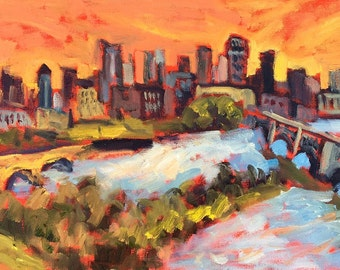 Minneapolis Art - City View, Painting, Original Oil,  Minneapolis, Minnesota, Stone Arch Bridge, City, Cityscape River, Skyline