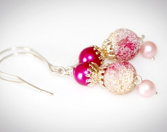 Frosted Pink Snowball Earrings With Recycled Vintage Beads.  Repurposed Upcycled Jewelry