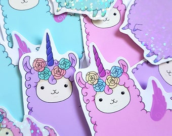 Fairy Alpaca stickers, cute llama stickers, cute planner stickers, bullet journal stickers, kawaii sticker set, cute stickers, pastel goth