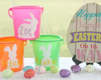 Personalized Easter Basket/Easter Bucket/Kid's Easter Basket/Egg Basket/Personalized Plastic Bucket/Name/Bunny/Easter/Sand pail/Plastic