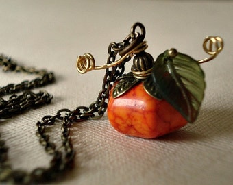 Pumpkin Necklace Autumn Necklace Pumpkin Jewelry Genuine Howlite Fall Jewelry Necklace Thanksgiving Necklace