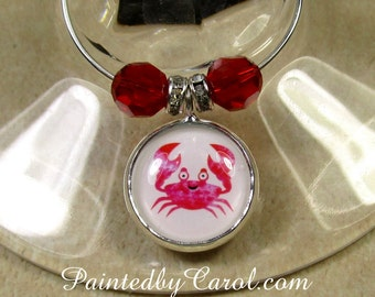 Crab Wine Charms, Cartoon Crab Table Decor, Crab Home Decor, Crab Party Decor, Beach Party Wine Charms, Beach Party Gifts