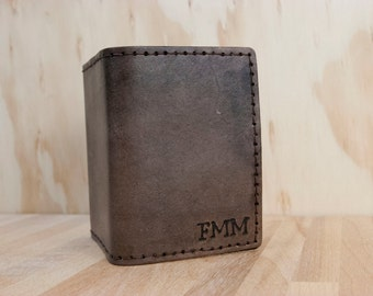 Mens Custom Monogram Leather Wallet - Trifold Wallet with ID Window in Antique Black - Third Anniversary Gift for Him