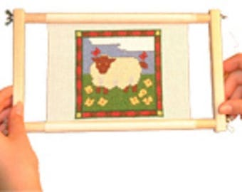 Mini No-Sew Frame from Siesta- Multi Frame , 6 inch and 9 inch rollers and 6 inch side bars, sewing frame, tapestry frame,
