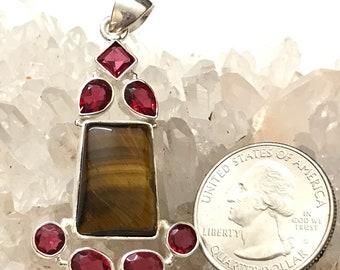 Tiger Eye and Pink Raspberry Rhodolite Garnet Pendant Necklace