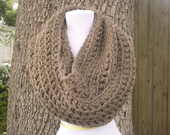 Taupe Chunky Scarf Circle Scarf Infinity Scarf Crocheted Cowl - Vermonter Oversized Infinity Cowl Taupe Cowl Taupe Scarf Womens Accessories