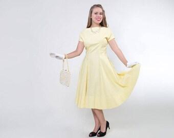 50s Yellow Cotton Plisse Summer Day Dress M