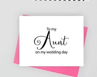 To my aunt on my wedding day card, wedding stationery, folded note cards, folded wedding cards, wedding stationary, wedding note cards