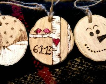 Customized woodburned ornaments!