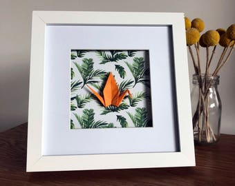 Framed Origami Crane - Orange Crane, Palm Leaves Print