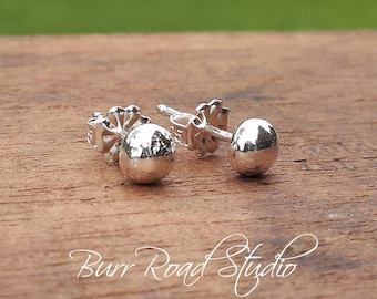 5mm Solid Fine Silver Pebble Round Ball Stud Post Earrings Fine Sterling Silver Shiny Finish