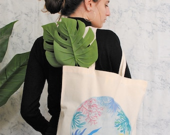 Coral Reef Tote Bag, Botanic cotton tote bag, shopper bag, women tote bag, botanic bag, plants tote bag, colorful tote bag