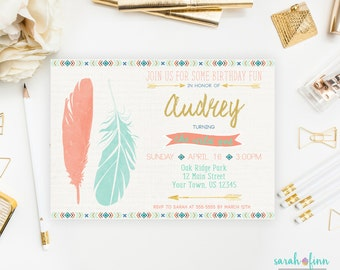 Wild One Birthday Invitation Wild One Party First Birthday Boho Invitation Tribal Invitation Coral Mint Printable Twin Boho 1st Feathers