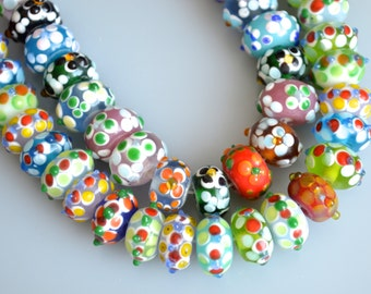 Lamp-work Glass Beads Dots Roundel and Dots Flower Roundel Shape Size Approx.10x12-13mm and 8x12-14mm