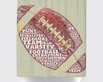 Shower Curtain and More - Football Football Team Typography Sports Bathroom | See Dropdown for Pricing and Matching Decor Options