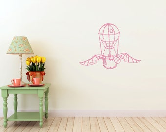 winged hot air balloon vinyl Wall DECAL- explorer  invention, old world interior design, sticker art, room, home and business decor