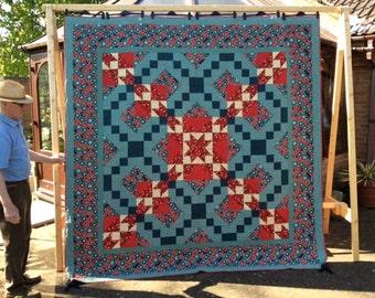 King size Handmade Quilt Queen size Quilt Home Decor Teal Terracotta quilt. Large quilt.Wedding Quilt.Unique.Patchwork Quilt.
