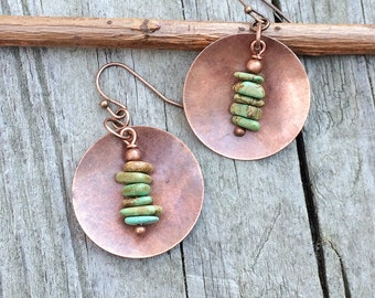 Turquoise Earrings, Turquoise Jewelry, Copper Earrings, Copper Jewelry, Boho Earrings, Turquoise Dangle Earrings,