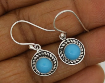 Simulated Turquoise Earring,Alteration of Turquoise stone, 925 Sterling Silver Earring,Handmade Girls Earring  FREE Jewelry Polishing Cloth