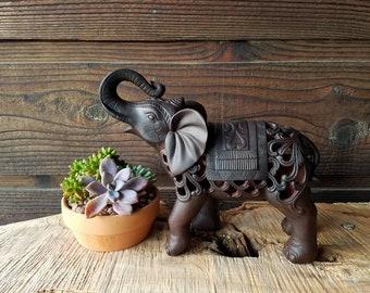 Beautiful Elephant Statue - Burgundy Ceramic Porcelain - Buddha Meditation Room Yoga Zen Garden *Antique/Vintage Look figurine Ornate Unique