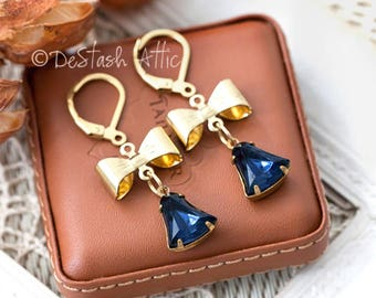 DIY Earrings Kit Pendants Jewellery Making Kit Includes Goldplated Bows, Montana Blue Rhinestone Drops and Earrings Components