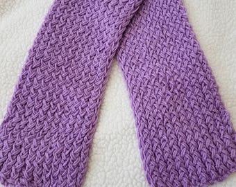 Light Purple Handmade Knitted Scarf