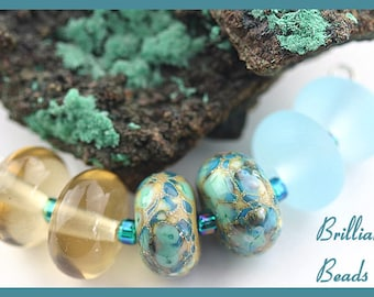Sand and Sea...Set of 6 Handmade Lampwork Beads in Turquoise, Pale Aqua & Sandy Brown, Made To Order,SRA