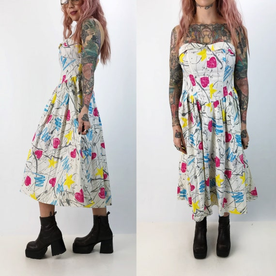 80's Sweetheart Strapless All Over Print Dress Small B/C Cup - Vintage FUNKY Cute Strapless Bodice Dress - Retro Patterned Spring Midi Dress